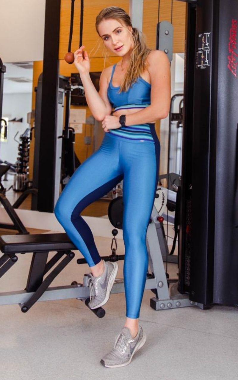 Calça Legging Azul com elastico