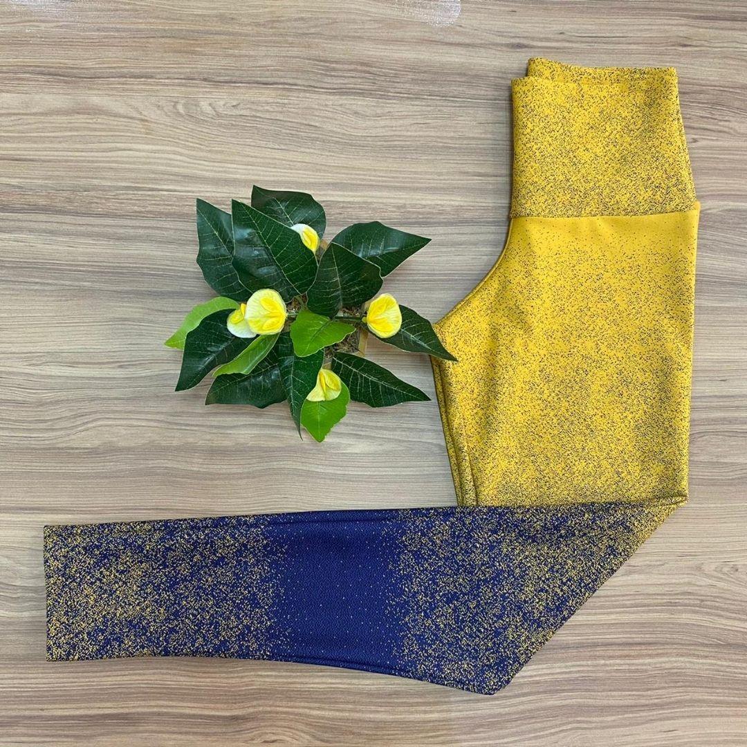 Calça Legging Jacquard Amarelo e Azul