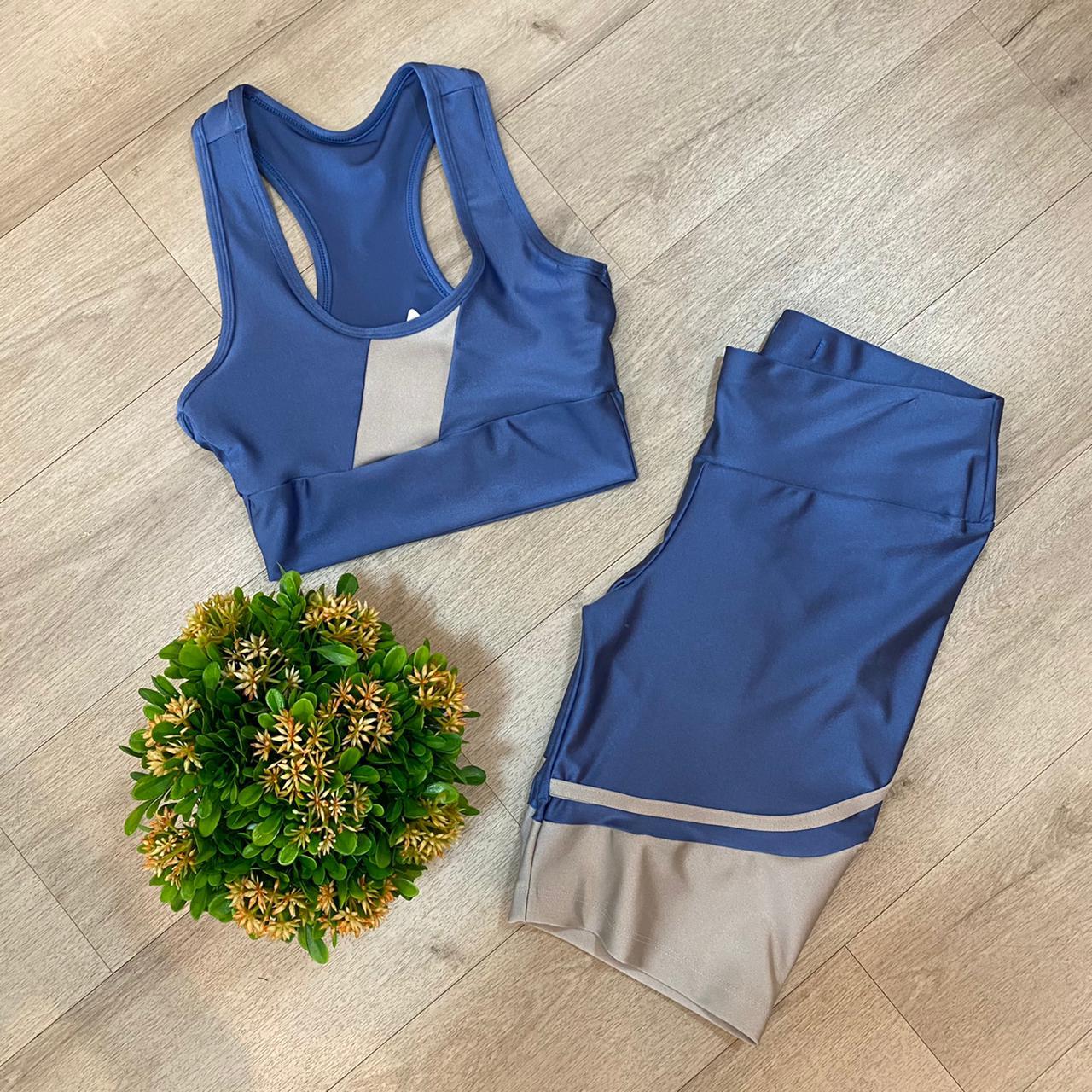 Conjunto Fitness Azul/Cinza
