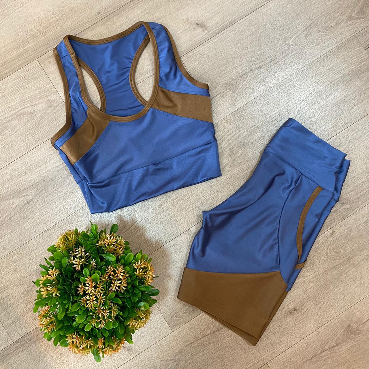 Conjunto Fitness Azul/Marrom