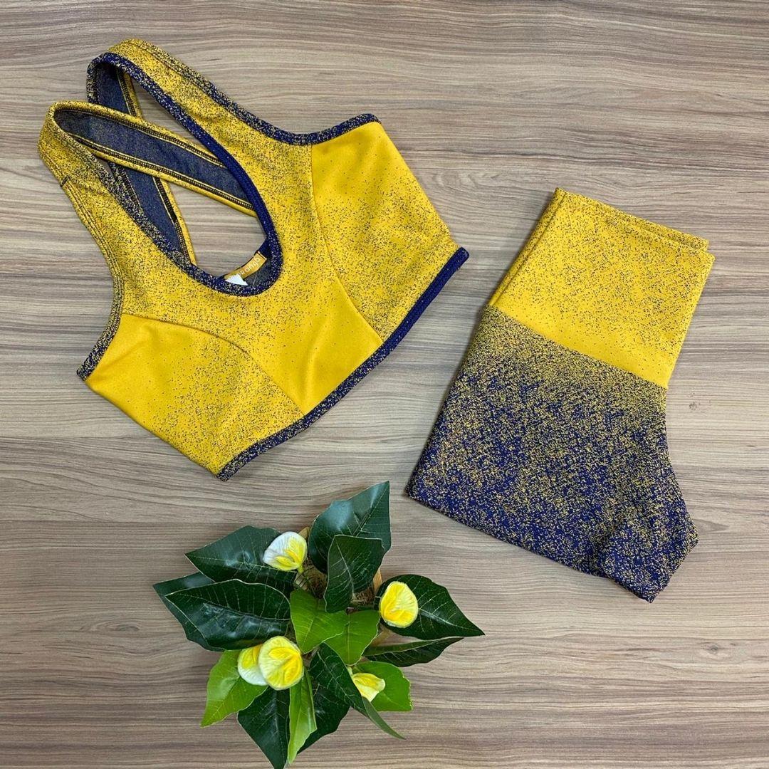 Conjunto Fitness Jacquard Amarelo