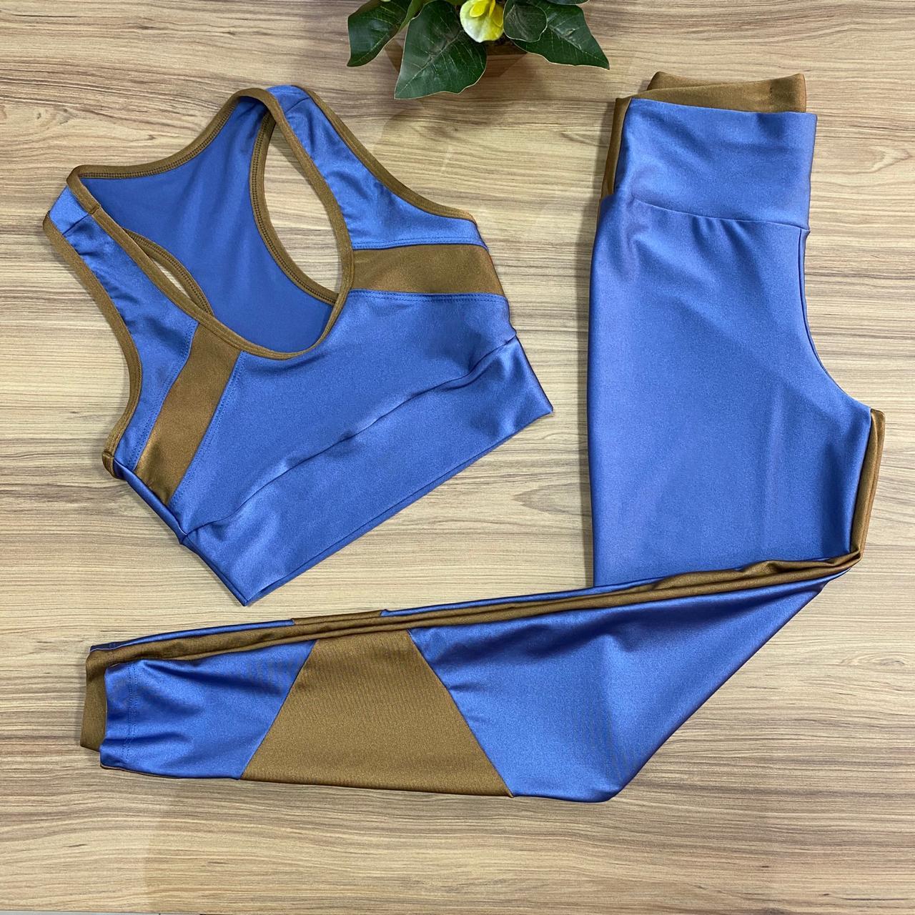Conjunto Top e Legging Azul c/ Marrom