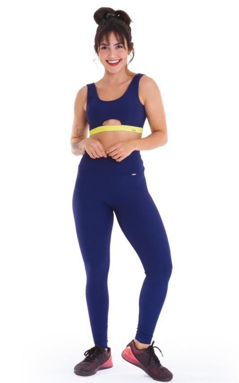 Conjunto Top e Legging Azul c/ elástico Verde Neon