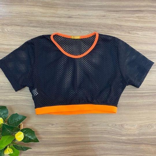 Cropped telinha c/ elastico laranja