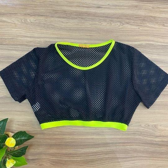 Cropped telinha c/ elastico verde