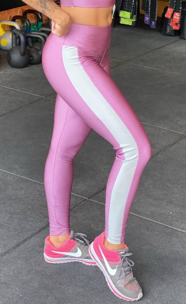 Legging Lilás lateral Prata