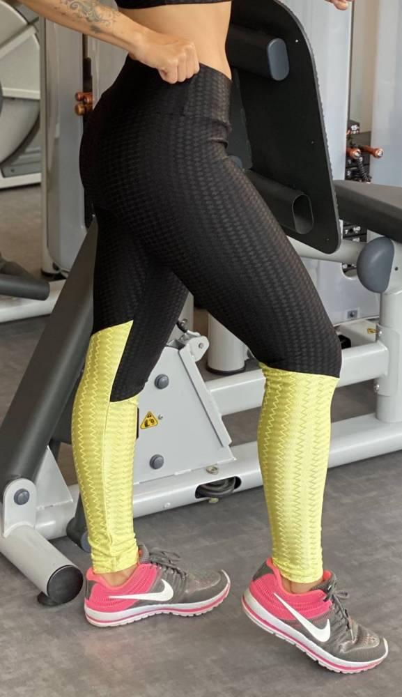Legging Preta/verde texturizada
