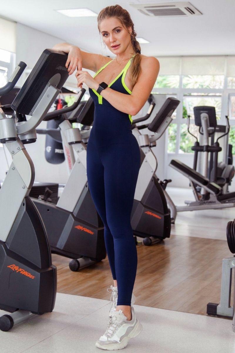 Macacão Fitness Azul e Verde