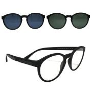 Óculos Empório Armani Clip-On Oval EA4152 58011W 52 Preto Fosco