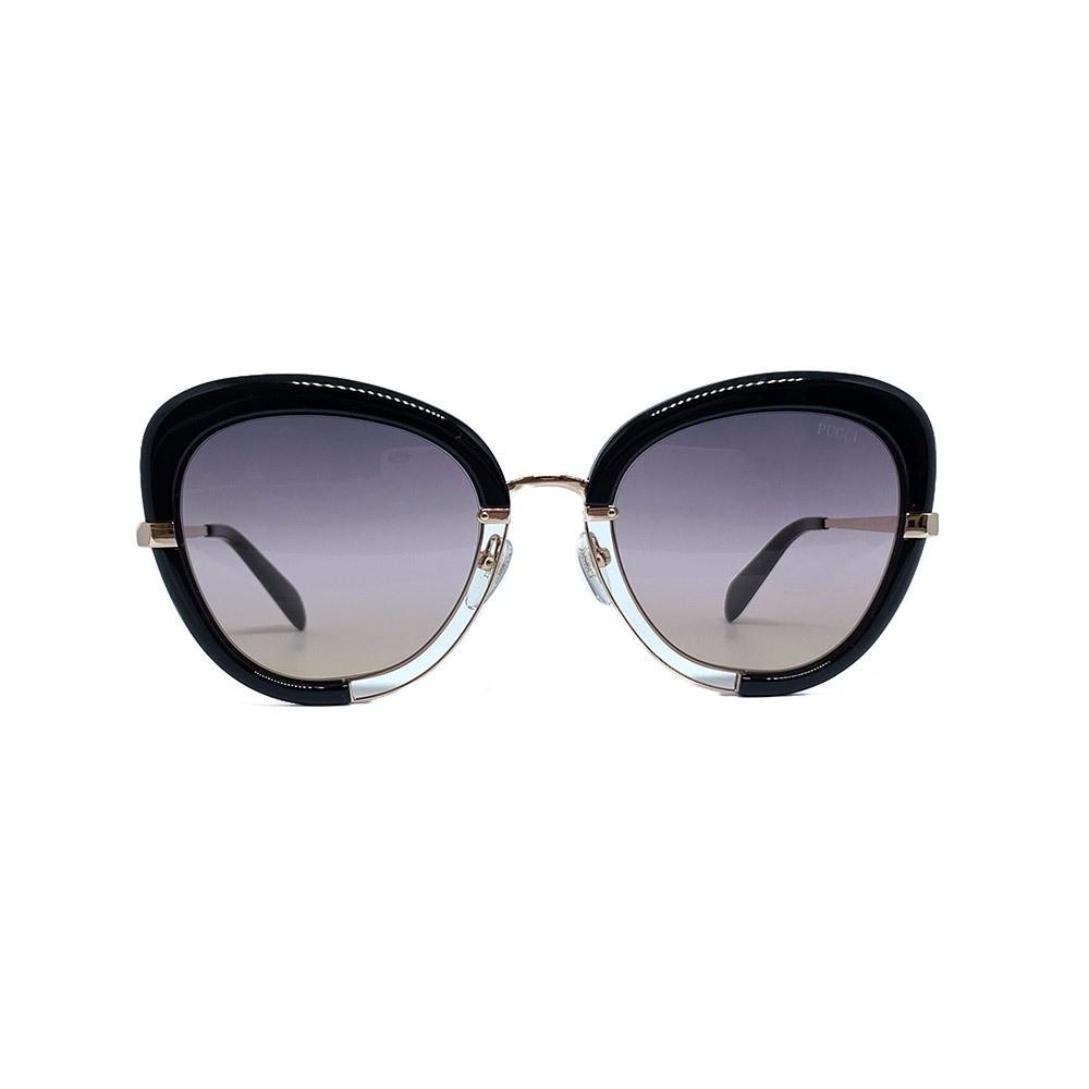 Óculos Emilio Pucci Cat Eye EP0115 01B 55 Dourado/Preto