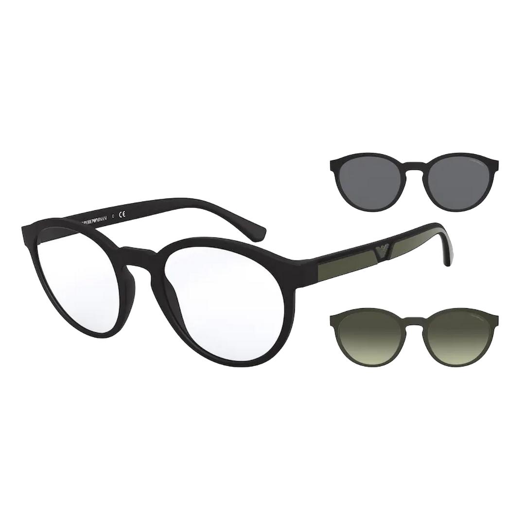 Óculos Emporio Armani Clip-On Redondo EA4152 50421W 52 Preto