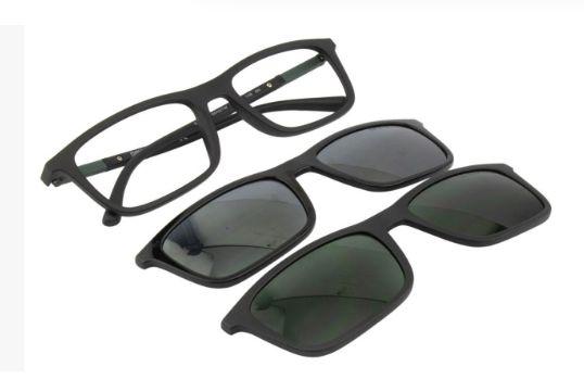 Óculos Emporio Armani Retangular EA4160 CLIPON 50421W 55 Preto