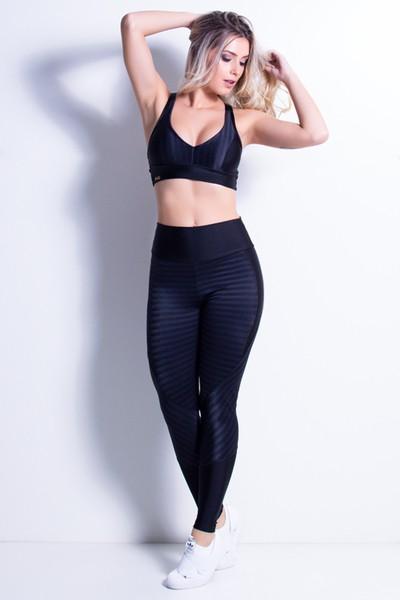 Calça Legging Fitness Recorte Trilobal