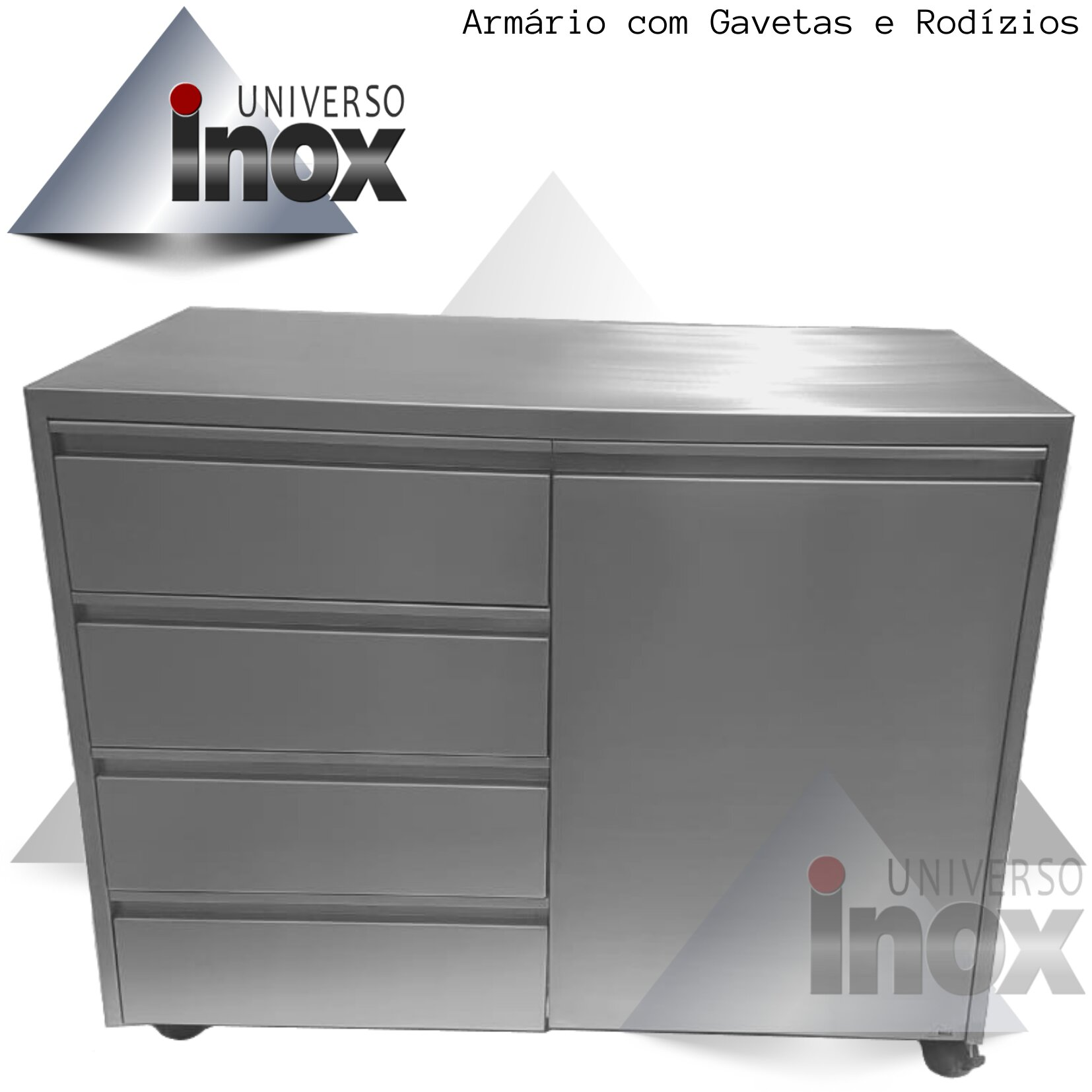Armário com gaveteiro confeccionado em aço inox