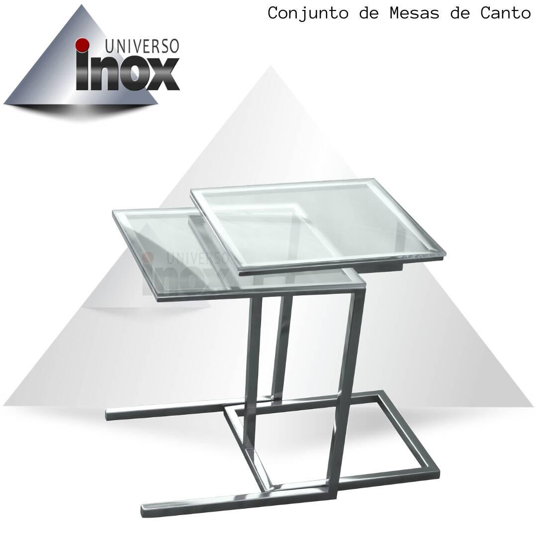 Conjunto de Mesas de canto com estrutura em aço inox e tampo de vidro