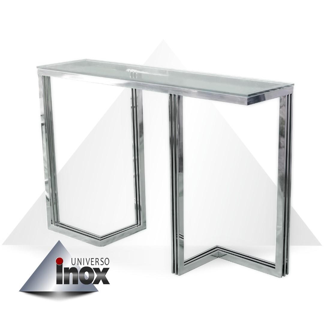 Mesa Aparador com estrutura em aço inox e tampo de vidro