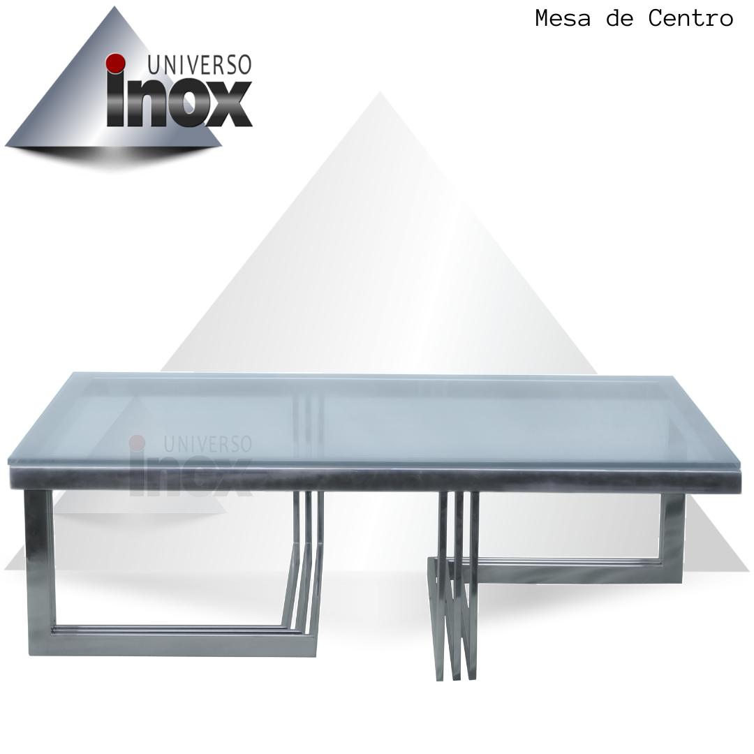 Mesa Centro com estrutura em aço inox e tampo de vidro