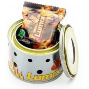 01 fogareiro lumix c/3 past. álcool p/ camping aquecer/cozer