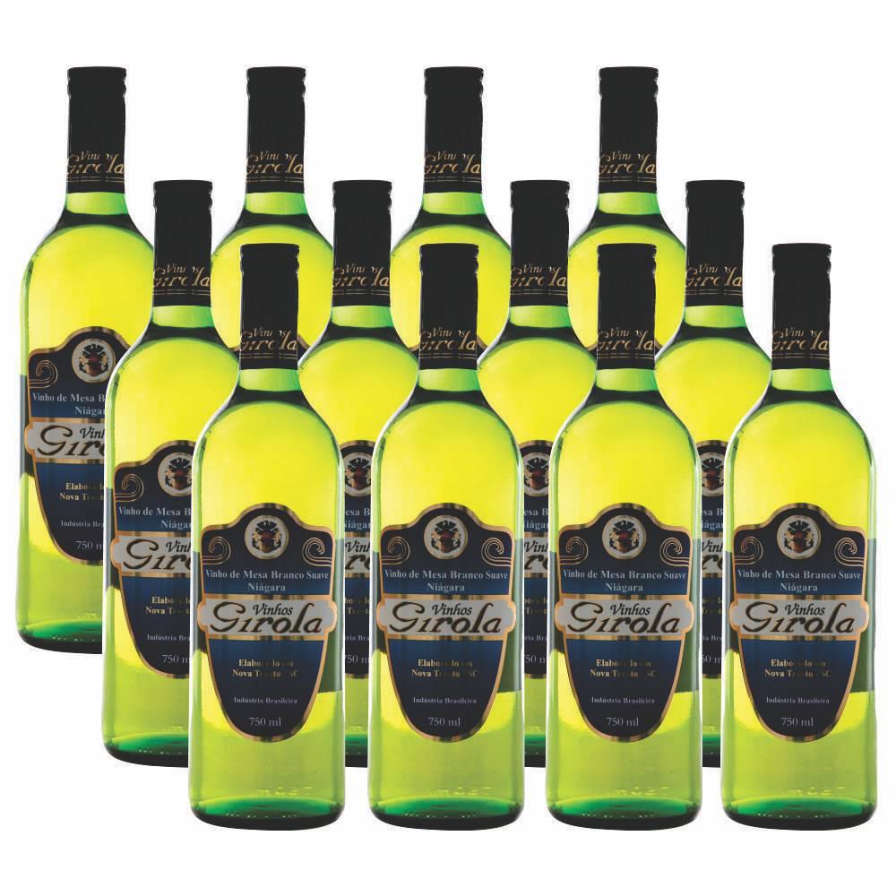 Kit com 12 Garrafas de Vinho Branco Suave Niágara 750ml