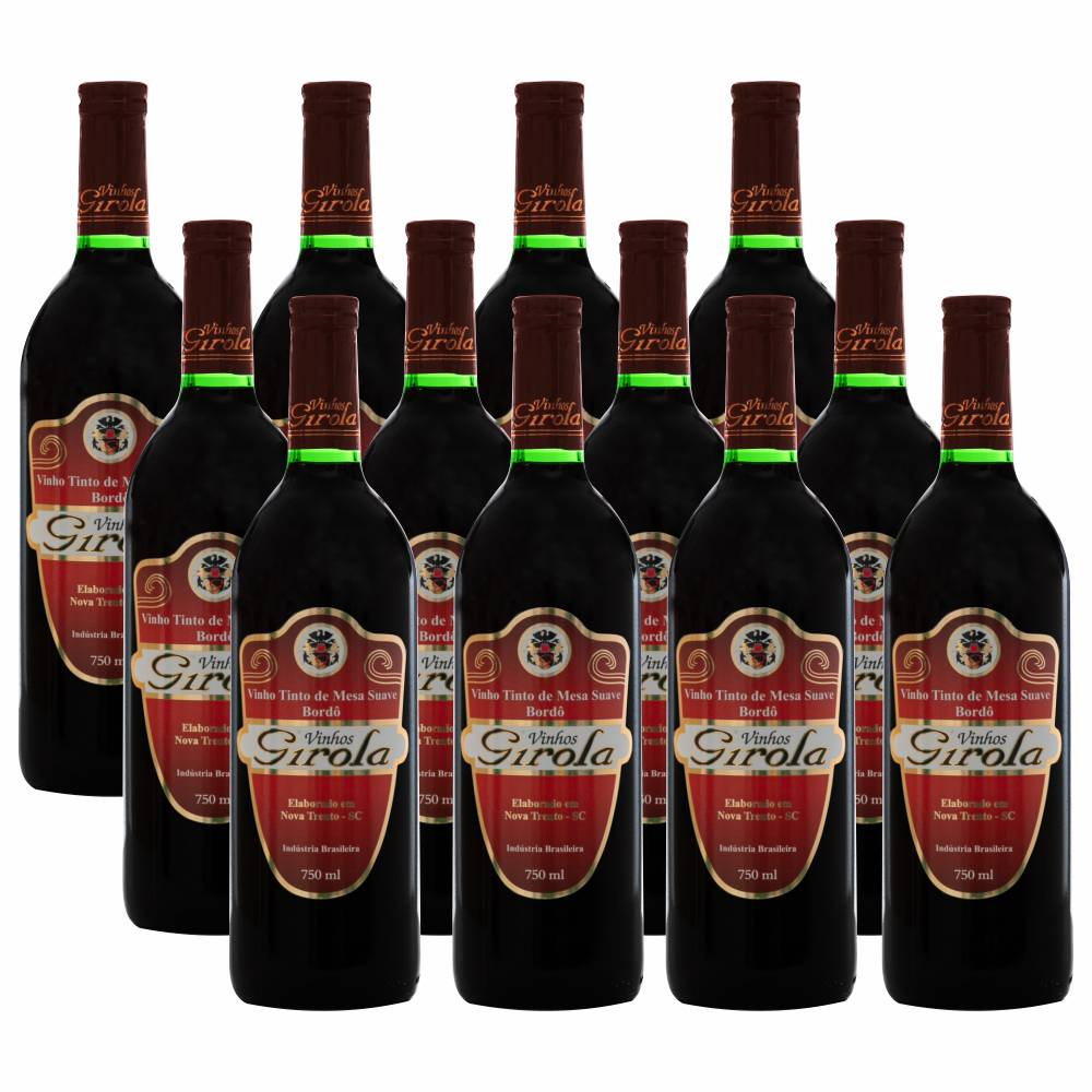 Kit com 12 Garrafas de Vinho Tinto Suave Bordô 750ml
