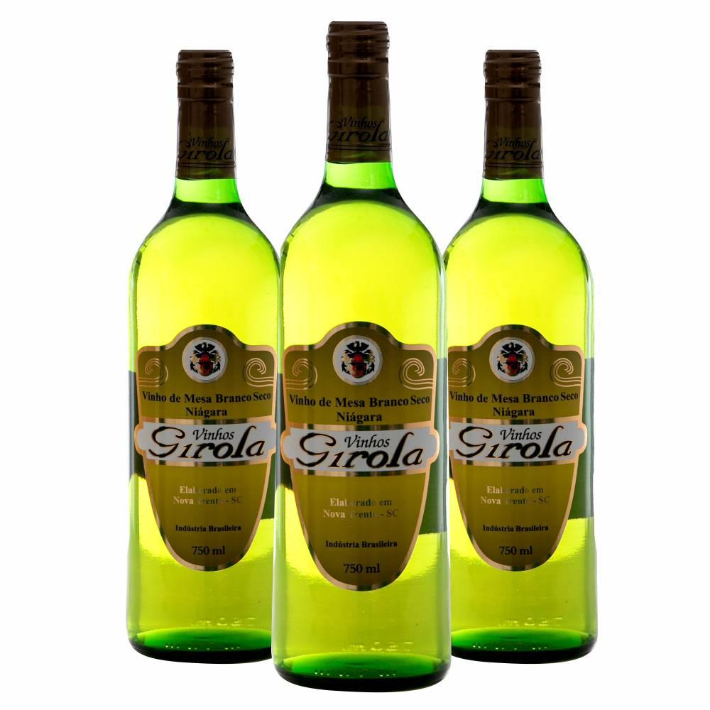 Kit com 3 Garrafas de Vinho Branco Seco Niágara 750ml