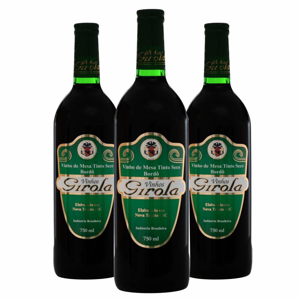 Kit com 3 Garrafas de Vinho Tinto Seco Bordô 750ml