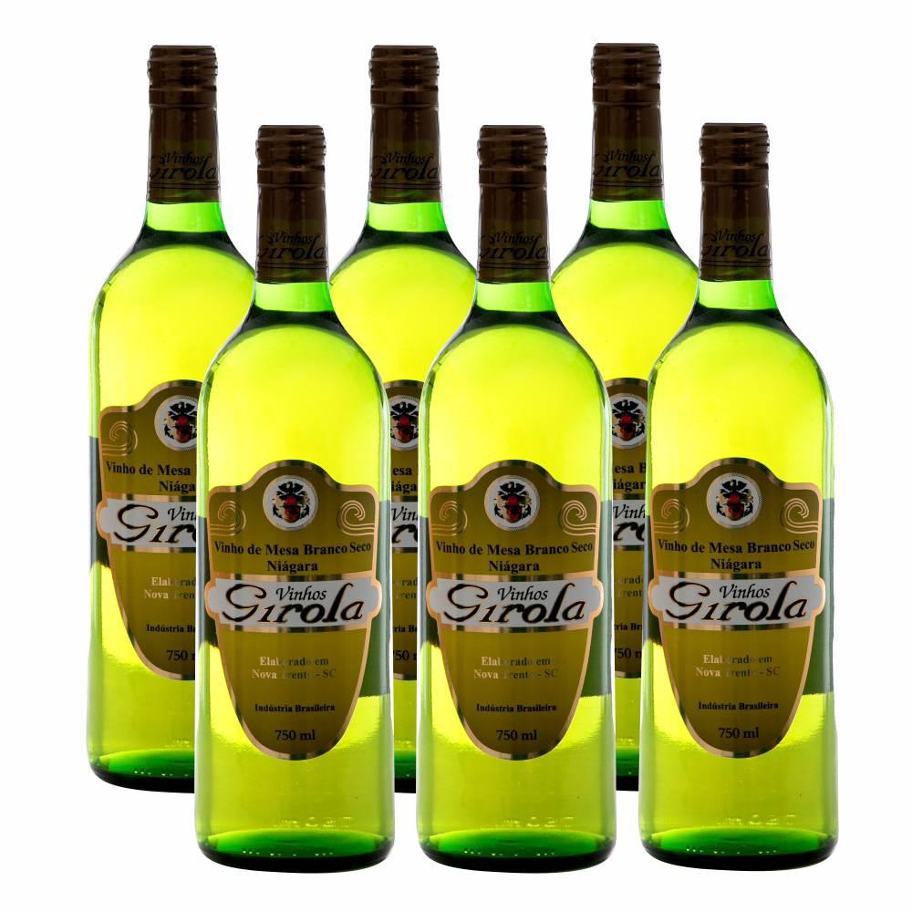 Kit com 6 Garrafas de Vinho Branco Seco Niágara 750ml