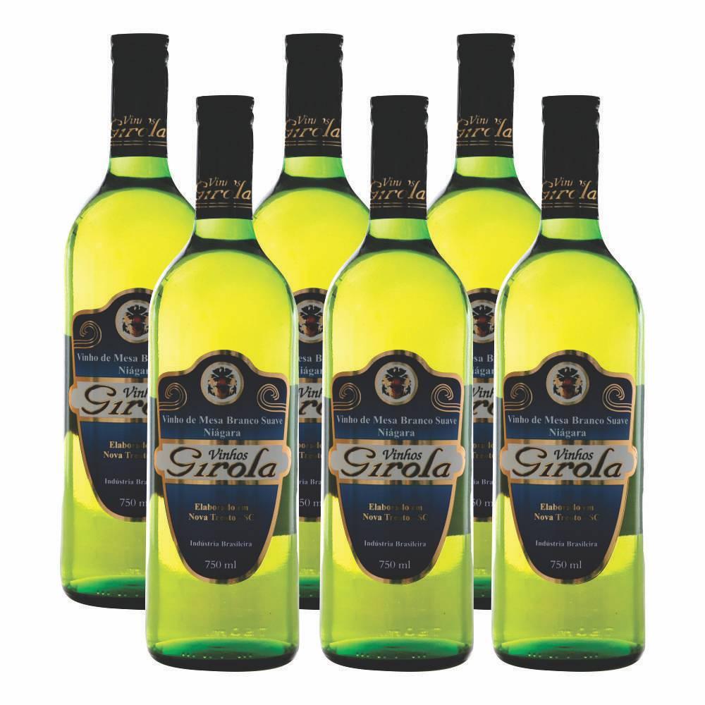 Kit com 6 Garrafas de Vinho Branco Suave Niágara 750ml