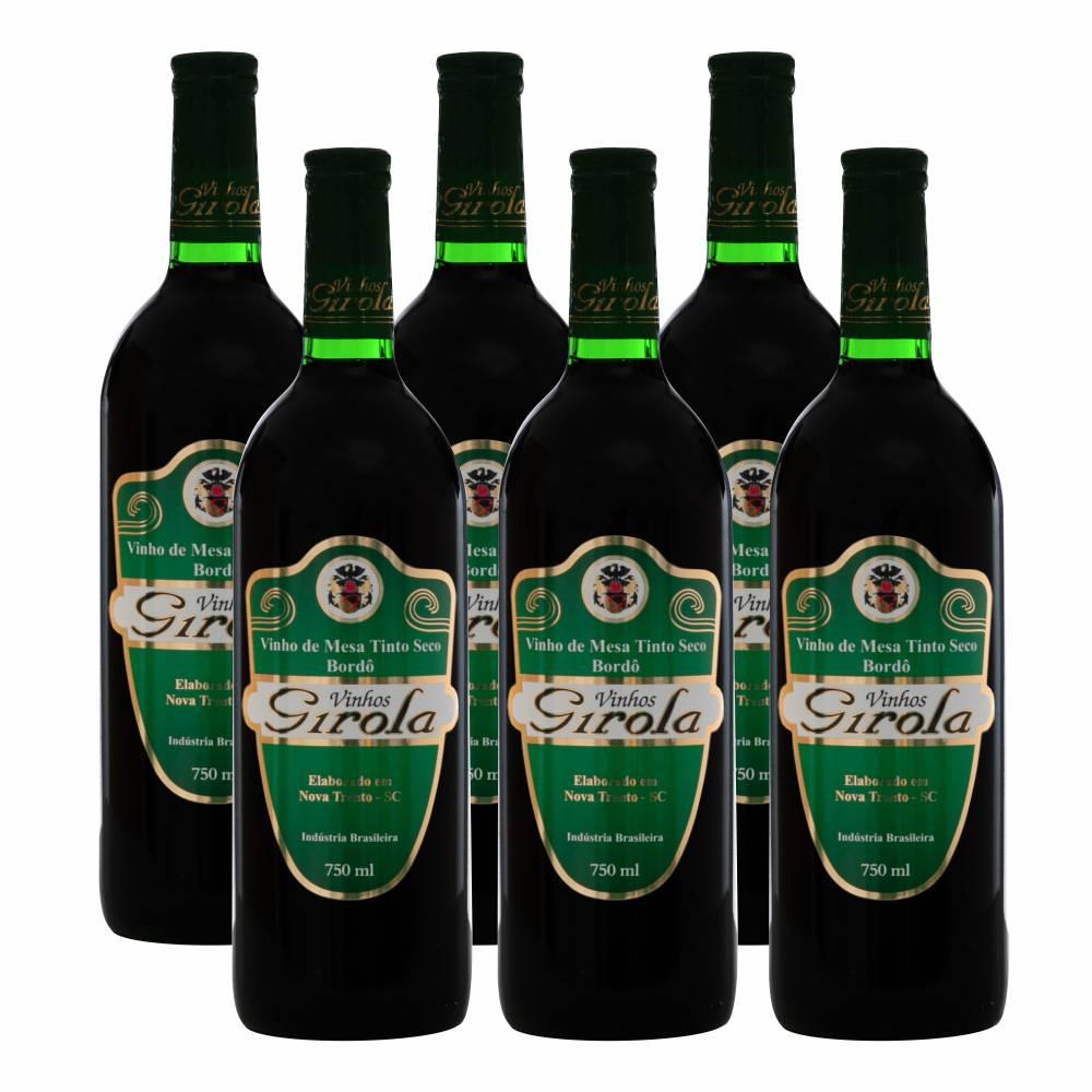 Kit com 6 Garrafas de Vinho Tinto Seco Bordô 750ml