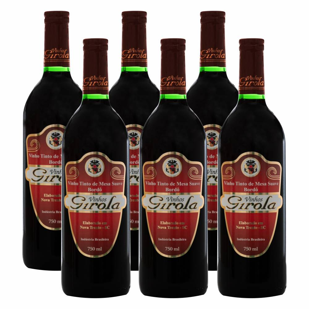 Kit com 6 Garrafas de Vinho Tinto Suave Bordô 750ml
