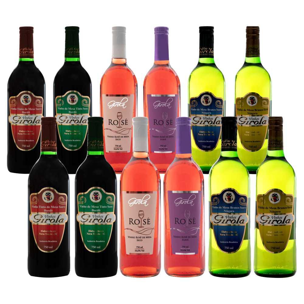 Kit Degustação - 12 Garrafas 750ml de Vinho de Mesa