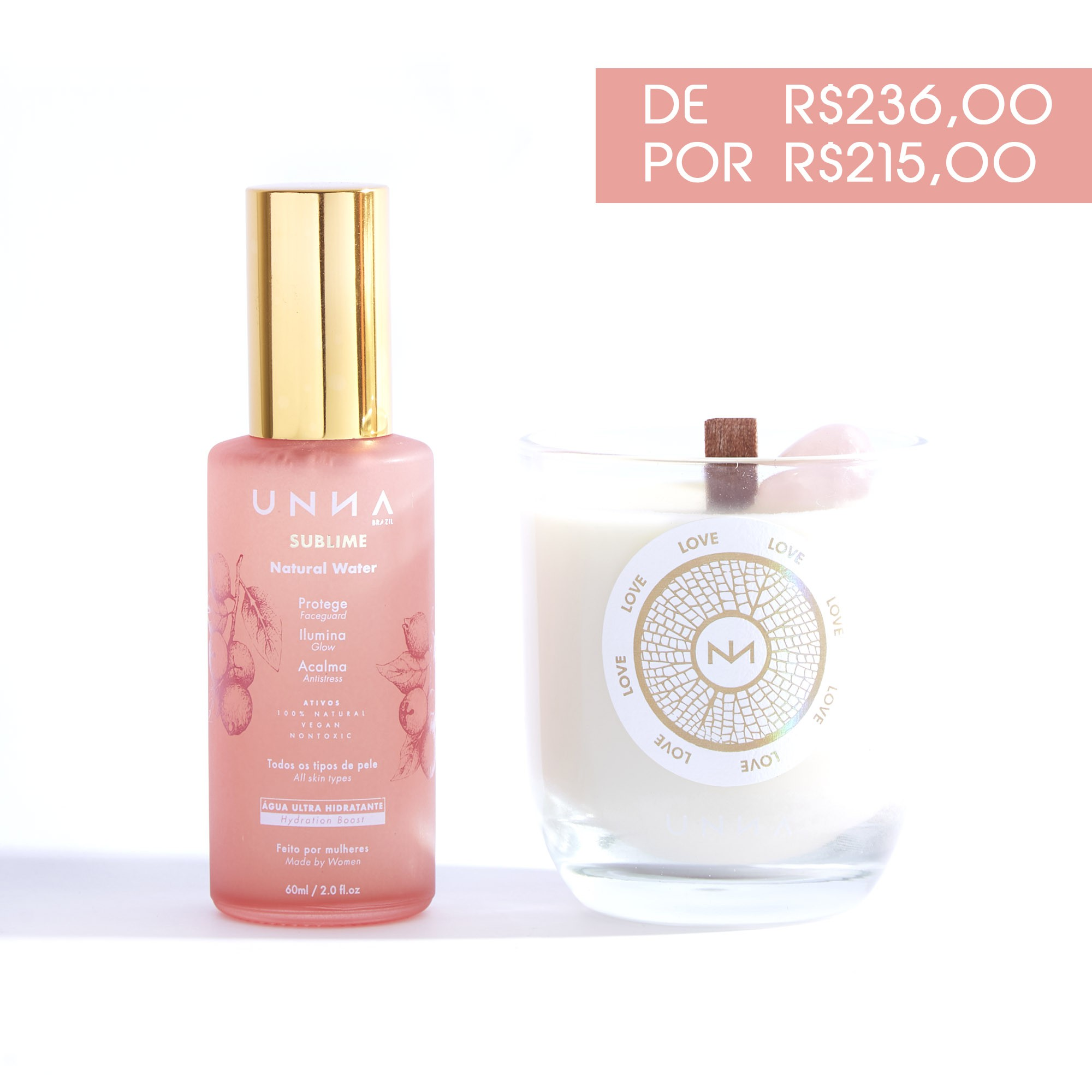 COMBO ÁGUA SUBLIME 60ml + VELA LOVE