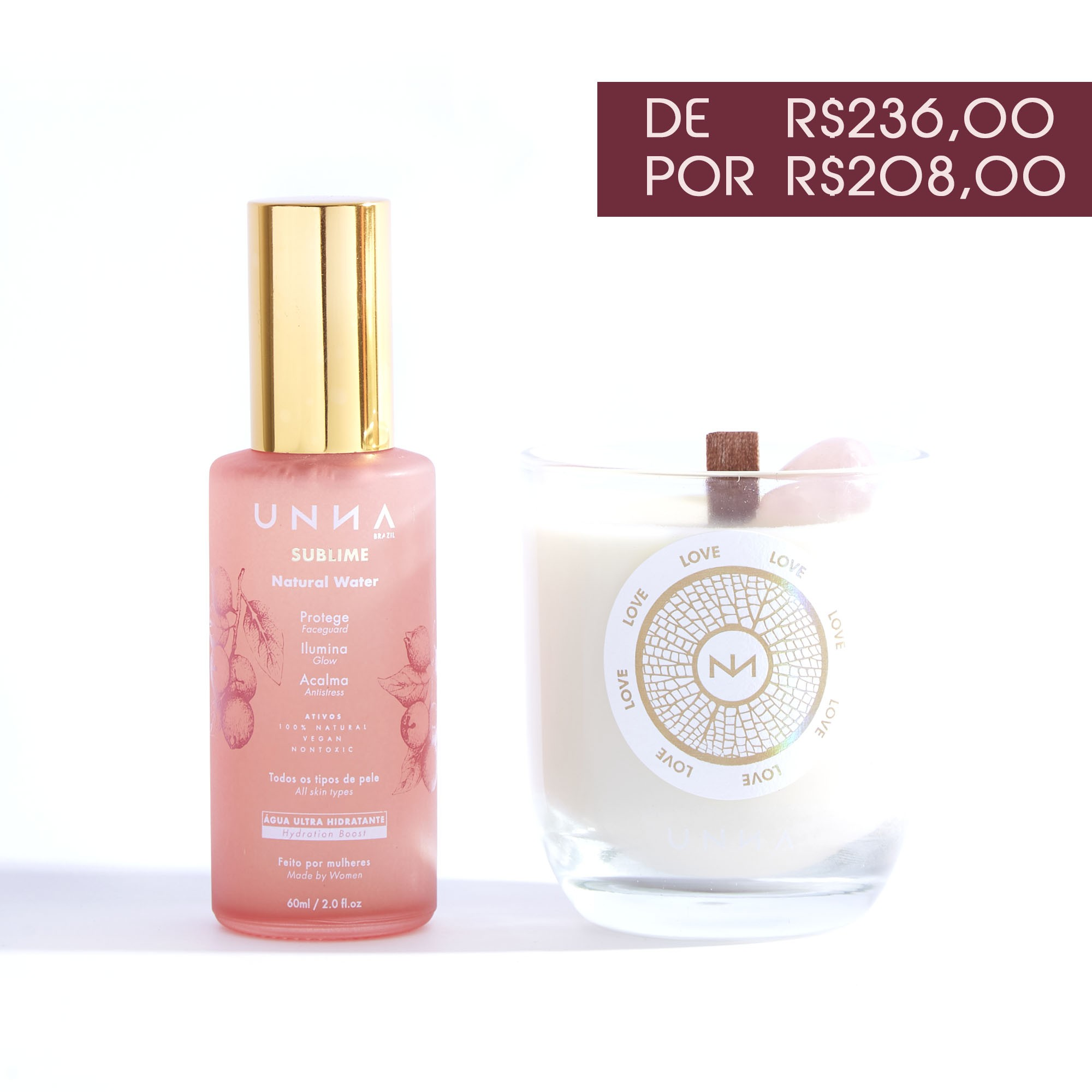 RITUAL ÁGUA SUBLIME 60ml + VELA LOVE