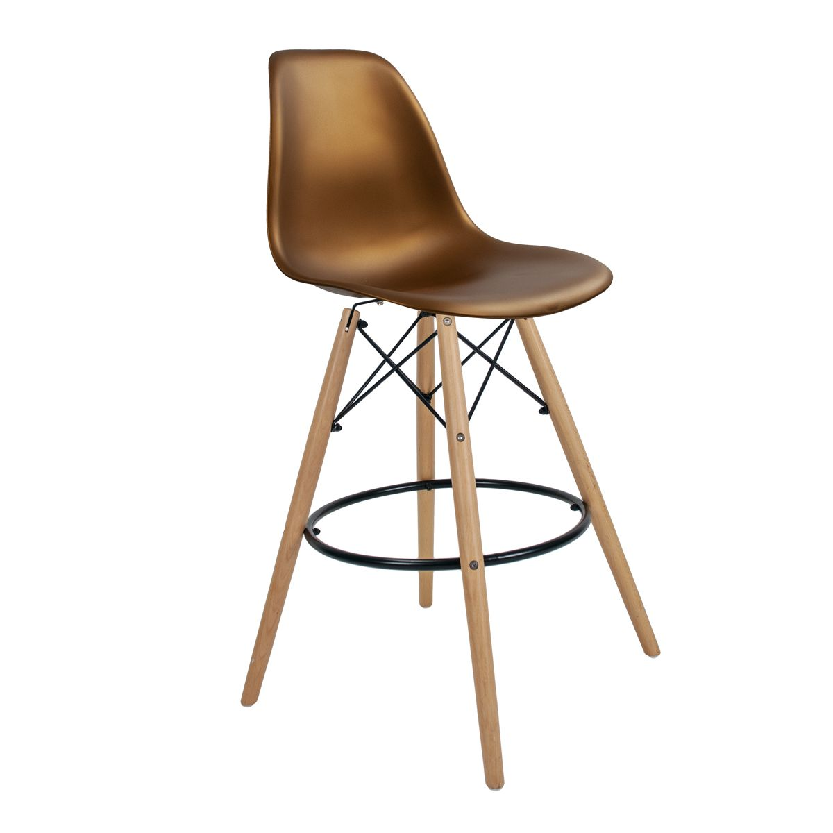 Banqueta Eames Bronze - Base de Madeira Natural