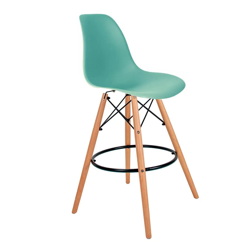 Banqueta Eames Verde Tiffany - Base Madeira Natural