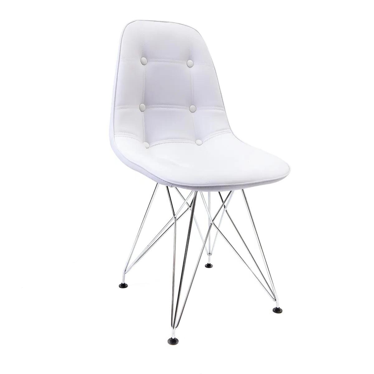 Cadeira Eames Botonê Branca - Base Eiffel Cromada