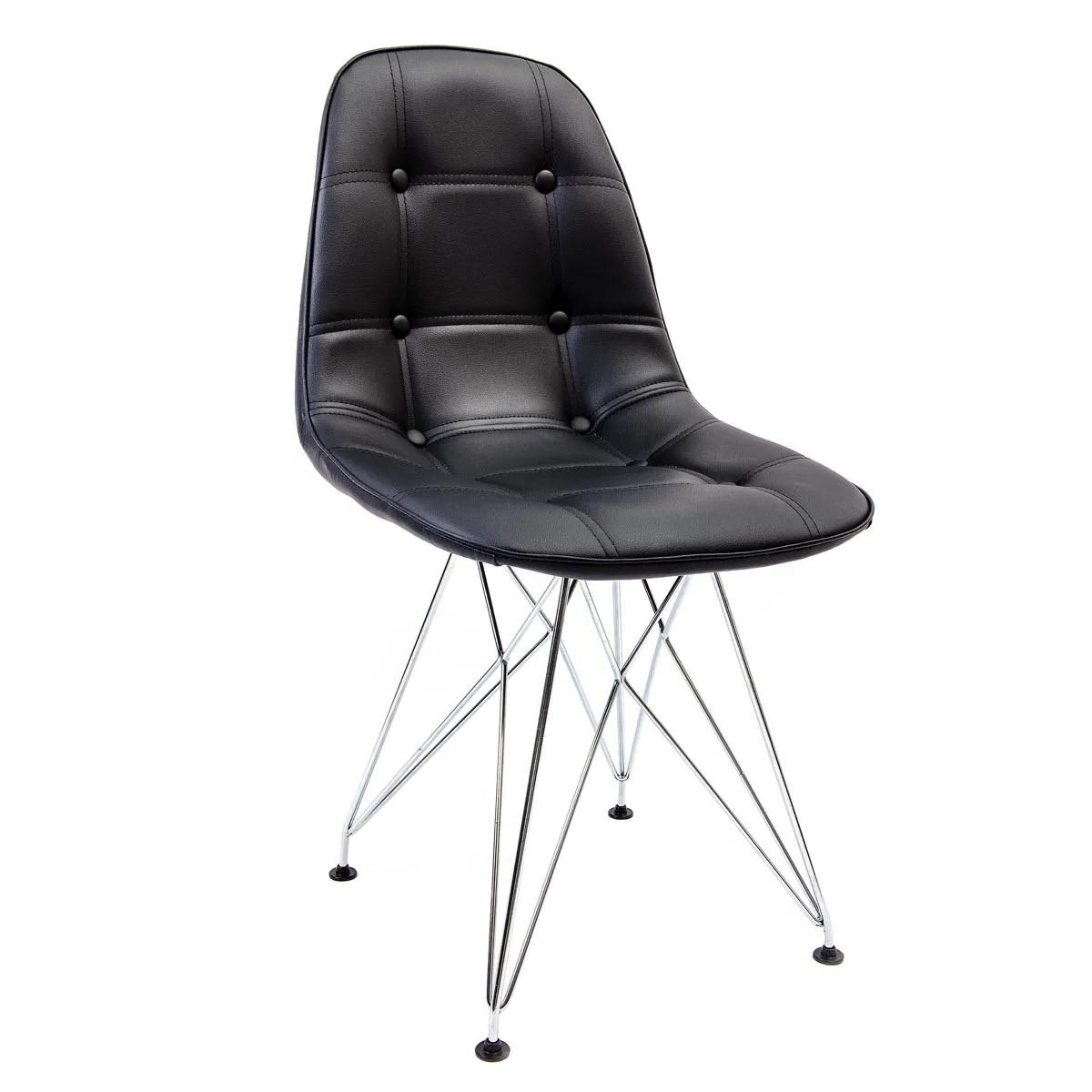 Cadeira Eames Botonê Preta - Base Eiffel Cromada