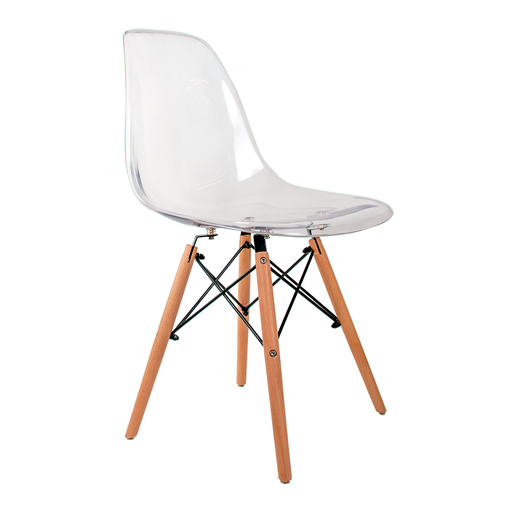 Cadeira Eames Transparente - Base Madeira Natural