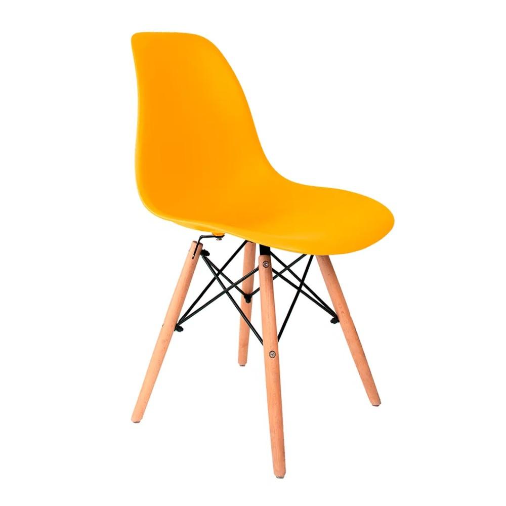 Cadeira Eames Amarela - Base de Madeira Natural