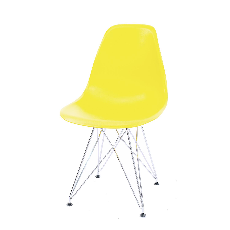 Cadeira Eames Amarela - Base Eiffel Cromada