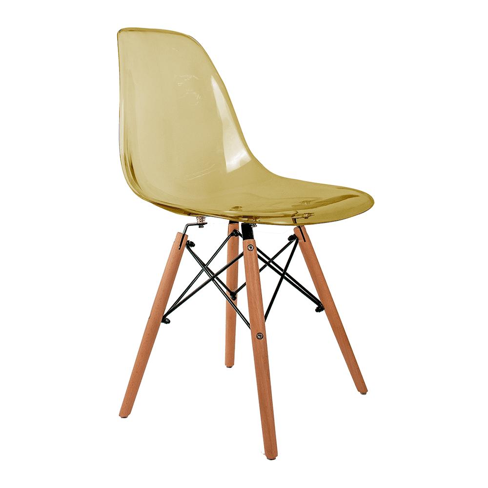 Cadeira Eames Âmbar - Base de Madeira Natural