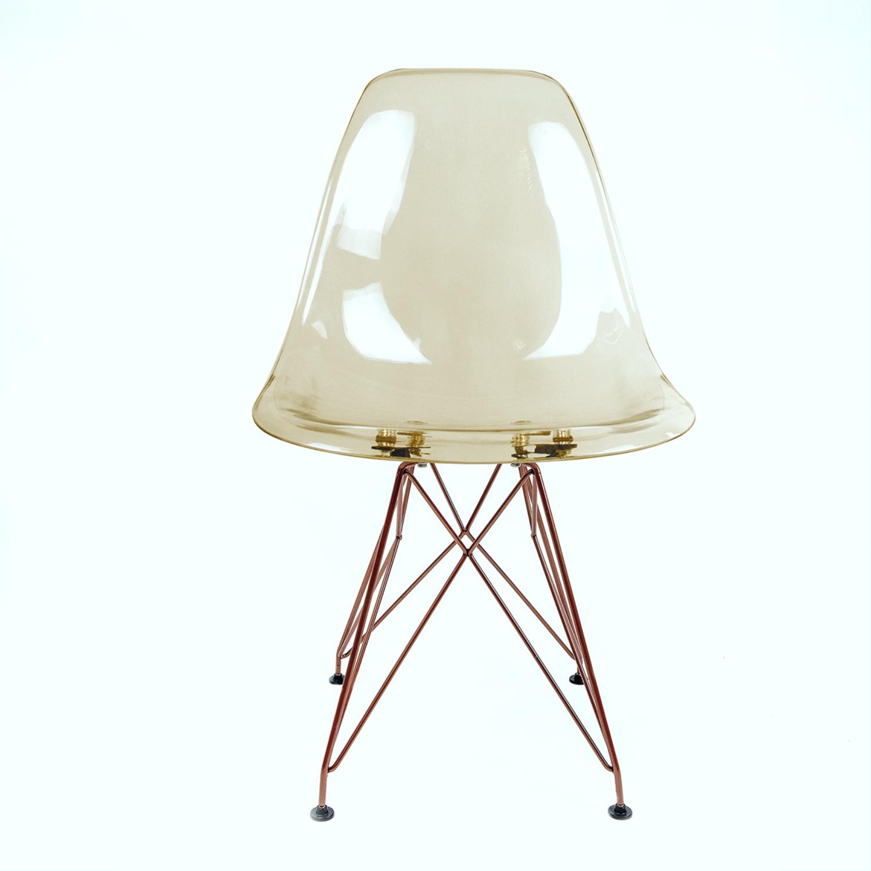 Cadeira Eames Âmbar - Base Eiffel Cobre