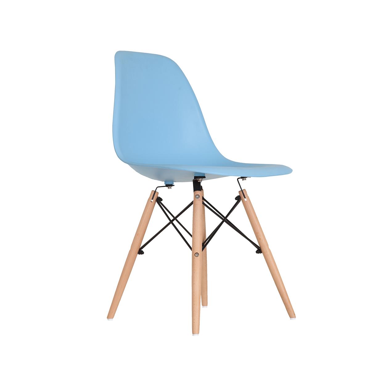 Cadeira Eames Azul - Base de Madeira Natual