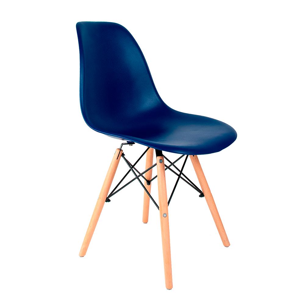 Cadeira Eames Azul Bic - Base de Madeira Natural