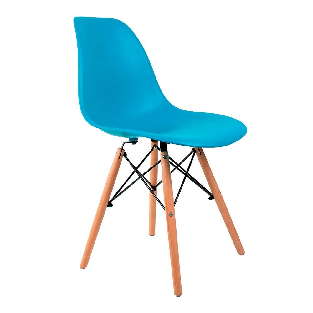 Cadeira Eames Azul Turquesa - Base Madeira Natural
