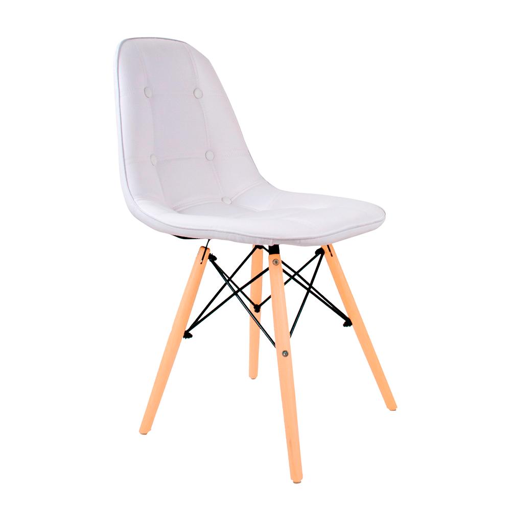 Cadeira Eames Botonê Branca - Base de Madeira Natural