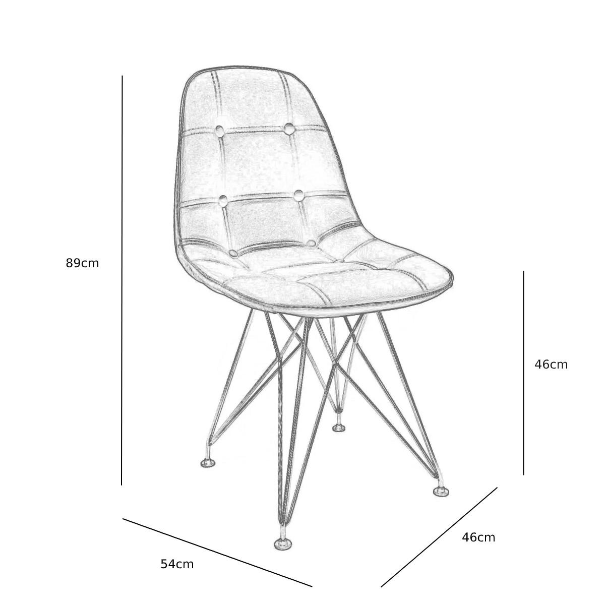 Cadeira Eames Botonê Branca - Base Eiffel Preta