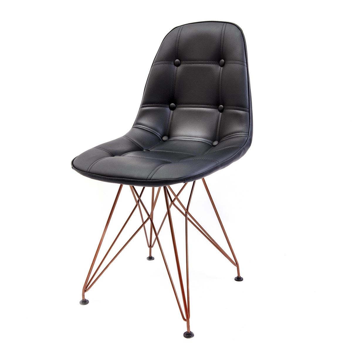 Cadeira Eames Botonê Preta - Base Eiffel Cobre