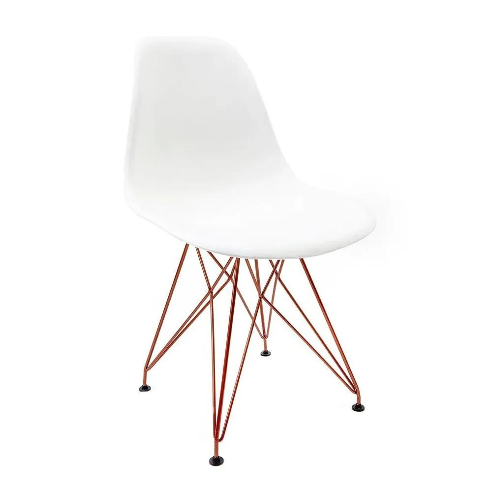Cadeira Eames Branca - Base Eiffel Cobre