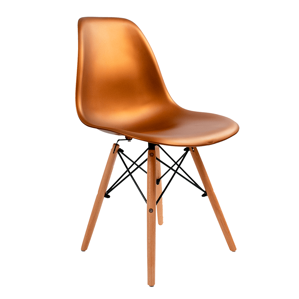 Cadeira Eames Bronze - Base de Madeira Natural